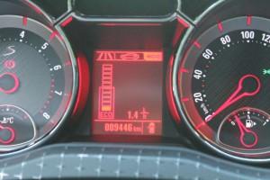 Anzeige zum Kraftstoff-Momentanverbrauch. ECO-Bereich unteres Rechteck. Foto: P. Bohne